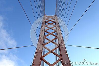 Part of suspension bridge