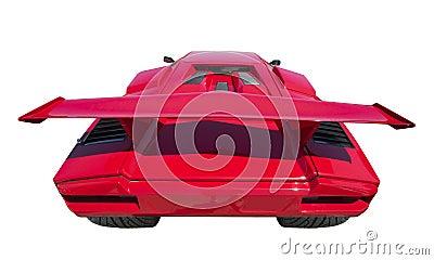 Parte posterior del coche de deportes, aislada