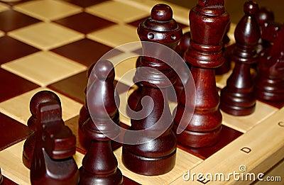 Partes de xadrez de madeira
