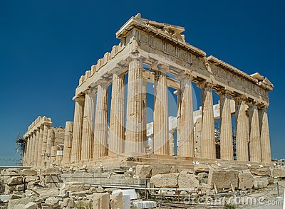 Parthenon ancient greek temple in greek capital Athens Greece Stock Photo