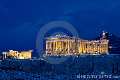 Parthenon at night on Acropolis