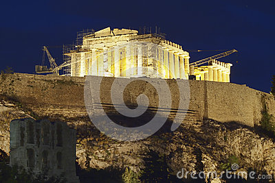 Parthenon temple illuminated