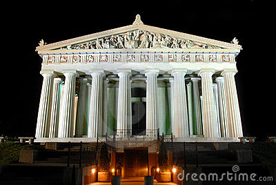 Parthenon tourist attraction Nashville nightscape