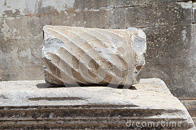 Partial fracture of Roman column on marble coffin in Ephesus