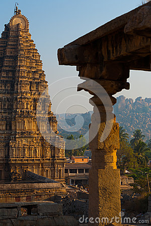 Partial Hampi Temple Stone Carving Column