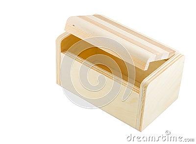 Partially open wooden box
