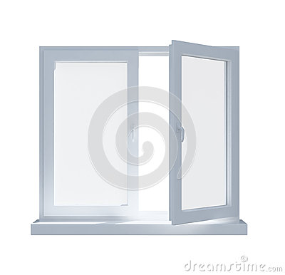 Partially opened window isolated on