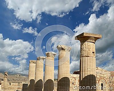 Partially rebuilt temple of Athena Lindia at the Acropolis