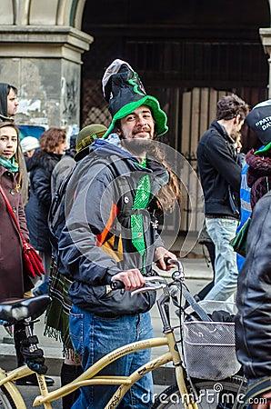 Participant at Saint Patrick parade Editorial Stock Image