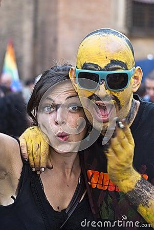 Participants at gay pride 2012 of Bologna Editorial Stock Photo