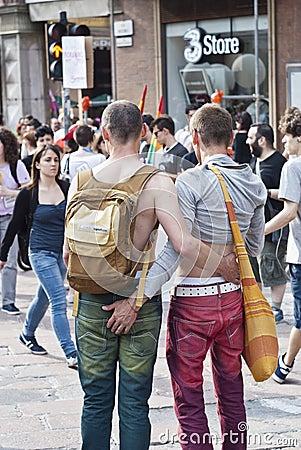Participants at gay pride 2012 of Bologna Editorial Stock Image