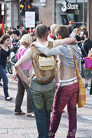 Participants at gay pride 2012 of Bologna Editorial Stock Photo
