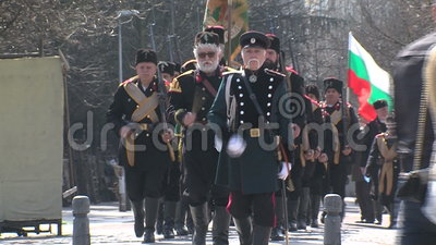 Participants of military historical society at the parade in Sofia, Bulgaria stock video footage