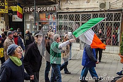 Participants at Saint Patrick parade Editorial Stock Image