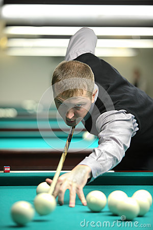 Participiant take part in competition of billiard Editorial Stock Photo