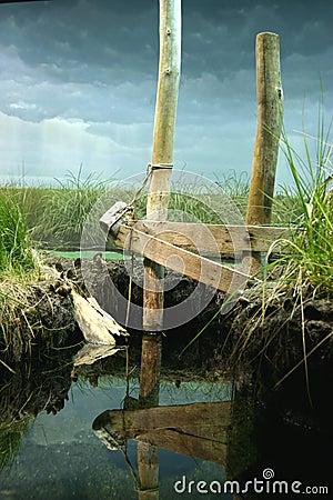 Partly fake pond