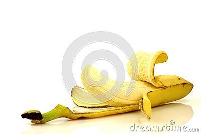 Partly peeled banana