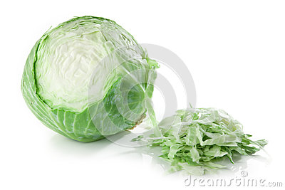 Partly sliced cabbage