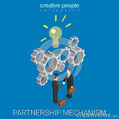 Free Partnership Idea Mechanism Handshake Flat 3d Isometric Vector Stock Photo - 66251530