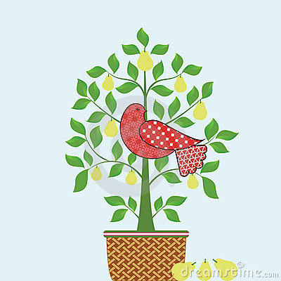 Free Partridge In A Pear Tree With Basket Stock Photos - 16520923