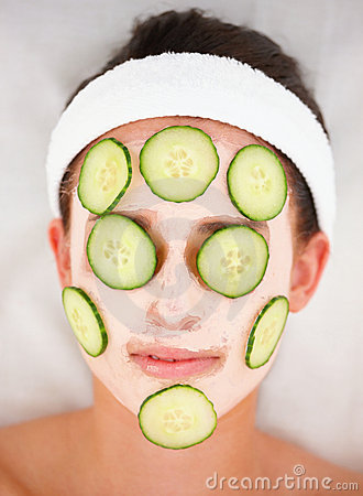 images stock cucumber slices and facial mask to womans face image 6355234. Black Bedroom Furniture Sets. Home Design Ideas