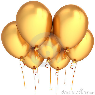 Free Party Balloons Golden Royalty Free Stock Photography - 18506767