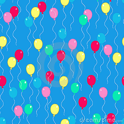 Party Balloons Seamless Repeat Pattern Vector