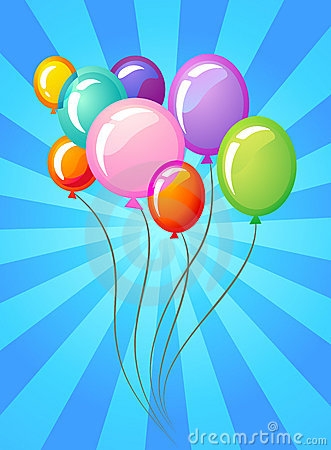 Free Party Balloons Template Royalty Free Stock Images - 13802219