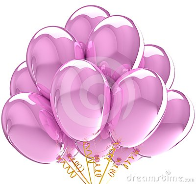 Party balloons translucent colored pink.