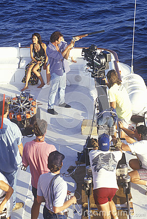 Party on boat scene from set of  Temptation Editorial Stock Image
