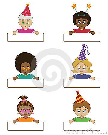 Party children holding name tags