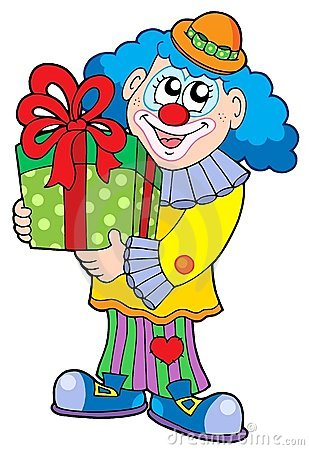Party clown with gift