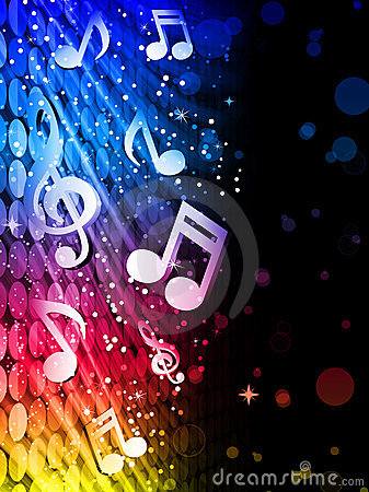 Free Party Colorful Waves Background With Music Notes Stock Photos - 18314223