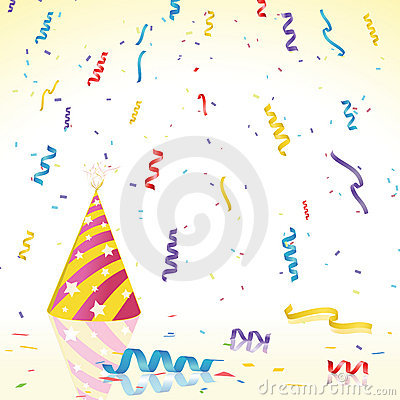 Party Confetti and hat on Reflective Surface