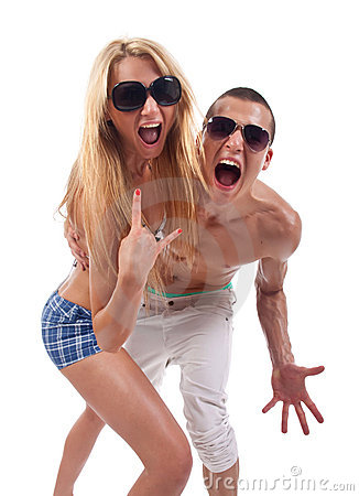 Party couple screaming
