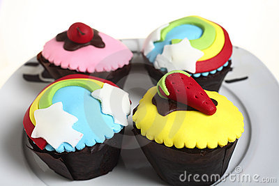 Party cupcakes on a plate