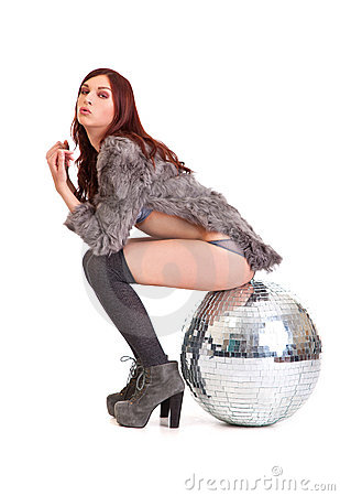 Party dancer on high heels with disco ball