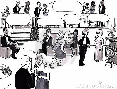 Party, dating, thought bubbles.