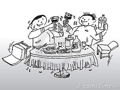 Party drinking illustration