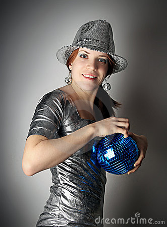 Party girl with blue disco ball