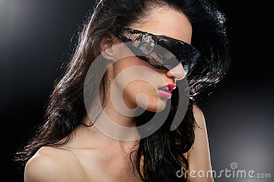 Party girl in club glasses