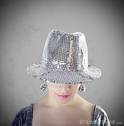 Free Party Girl Portrait With Silver Hat Stock Photography - 13019652
