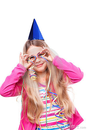 Free Party Girl With Streamers Royalty Free Stock Photos - 22988498