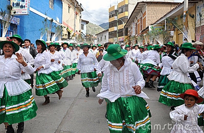 Party Goers in Peru during Epiphany Editorial Stock Photo