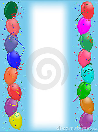 Party greeting card with balloons