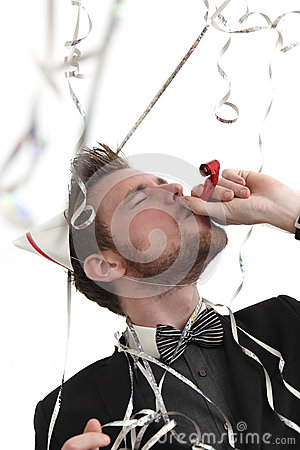 Party guy with blower