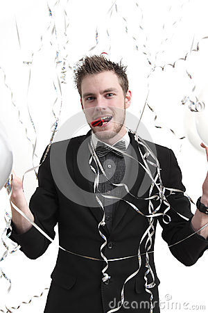 Party guy holding balloons