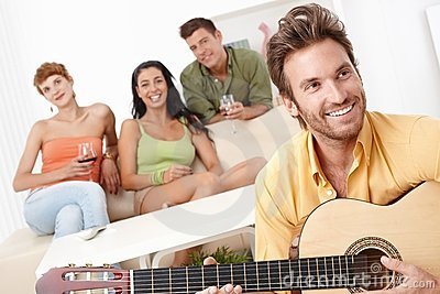 Party at home with guitar music