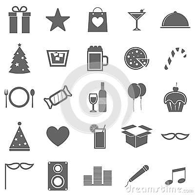 Party icons on white background
