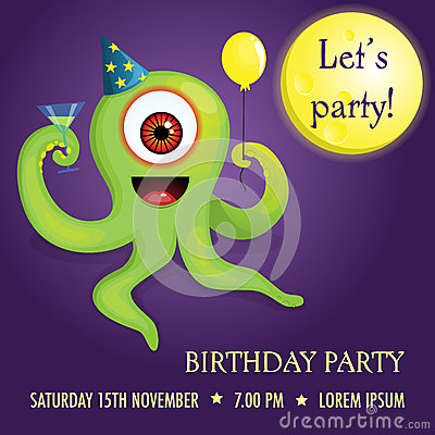 Party invitation with alien